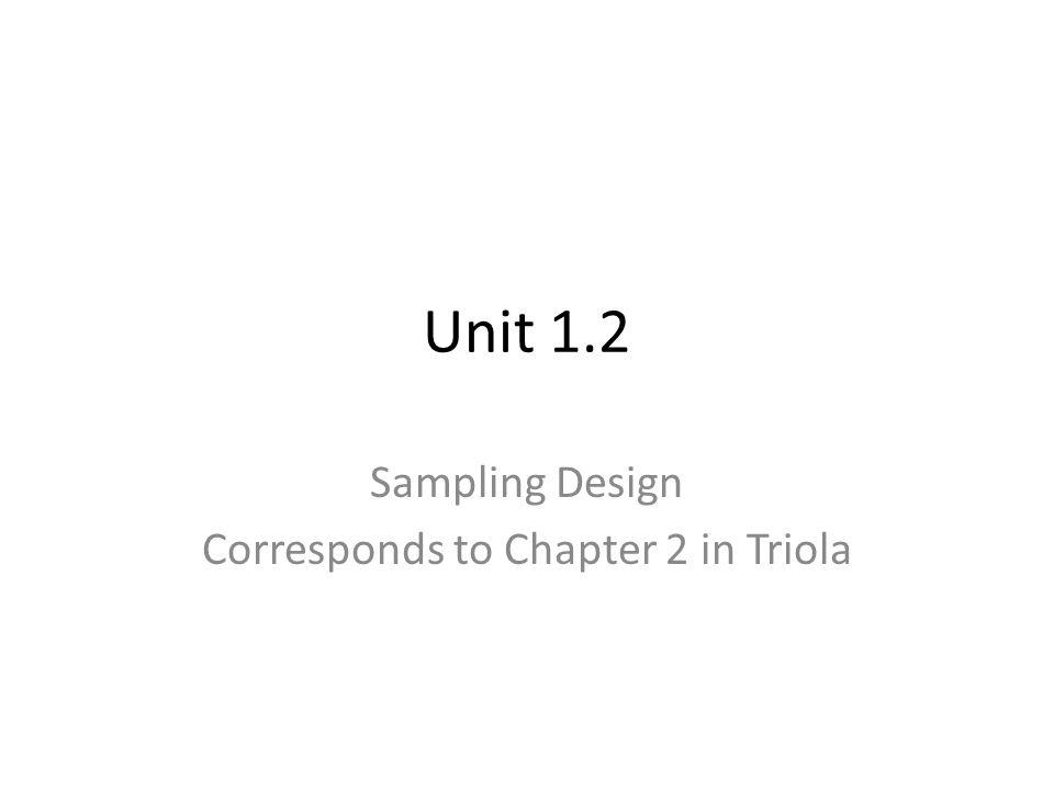 Unit 1.2 Sampling Design Corresponds to Chapter 2 in Triola