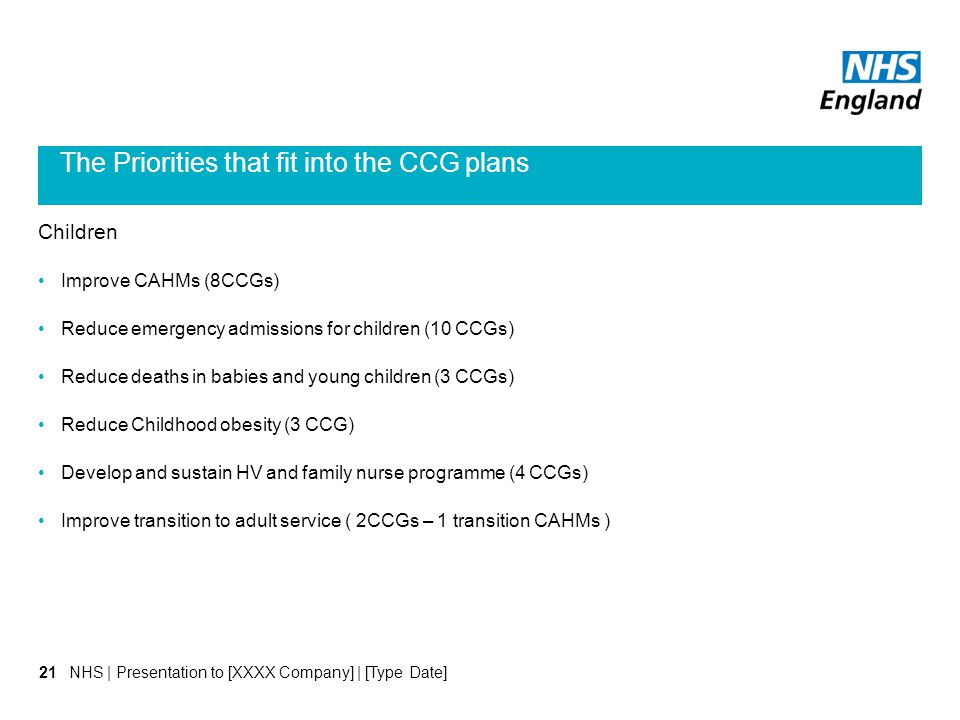 The Priorities that fit into the CCG plans Children Improve CAHMs (8CCGs) Reduce emergency admissions for children (10 CCGs) Reduce deaths in babies a