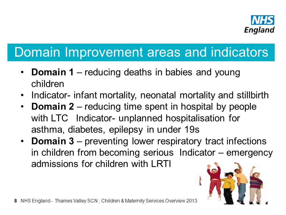 Domain Improvement areas and indicators 8 Domain 1 – reducing deaths in babies and young children Indicator- infant mortality, neonatal mortality and