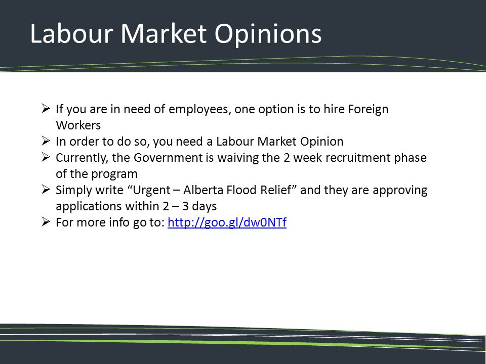 Labour Market Opinions  If you are in need of employees, one option is to hire Foreign Workers  In order to do so, you need a Labour Market Opinion