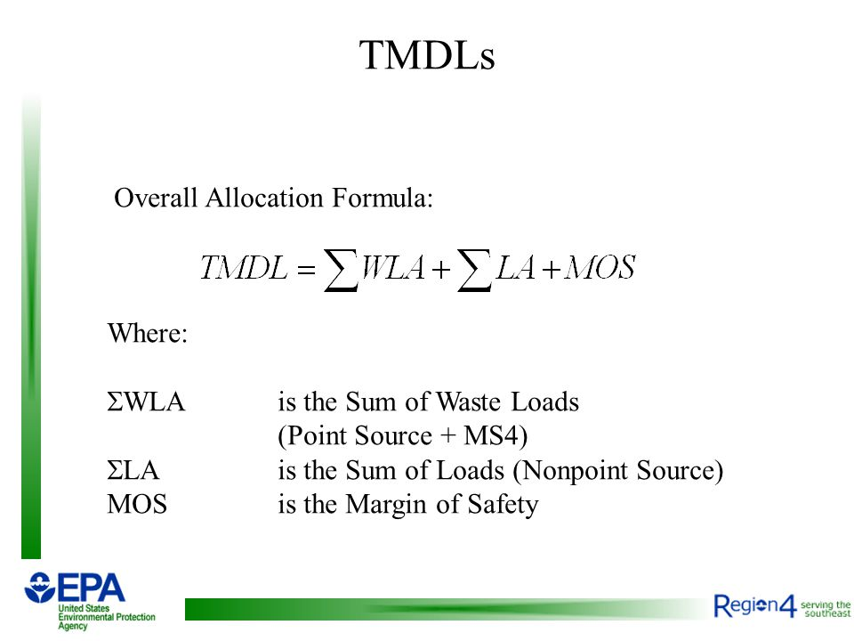 TMDLs Overall Allocation Formula: Where:  WLA is the Sum of Waste Loads (Point Source + MS4)  LAis the Sum of Loads (Nonpoint Source) MOSis the Margin of Safety