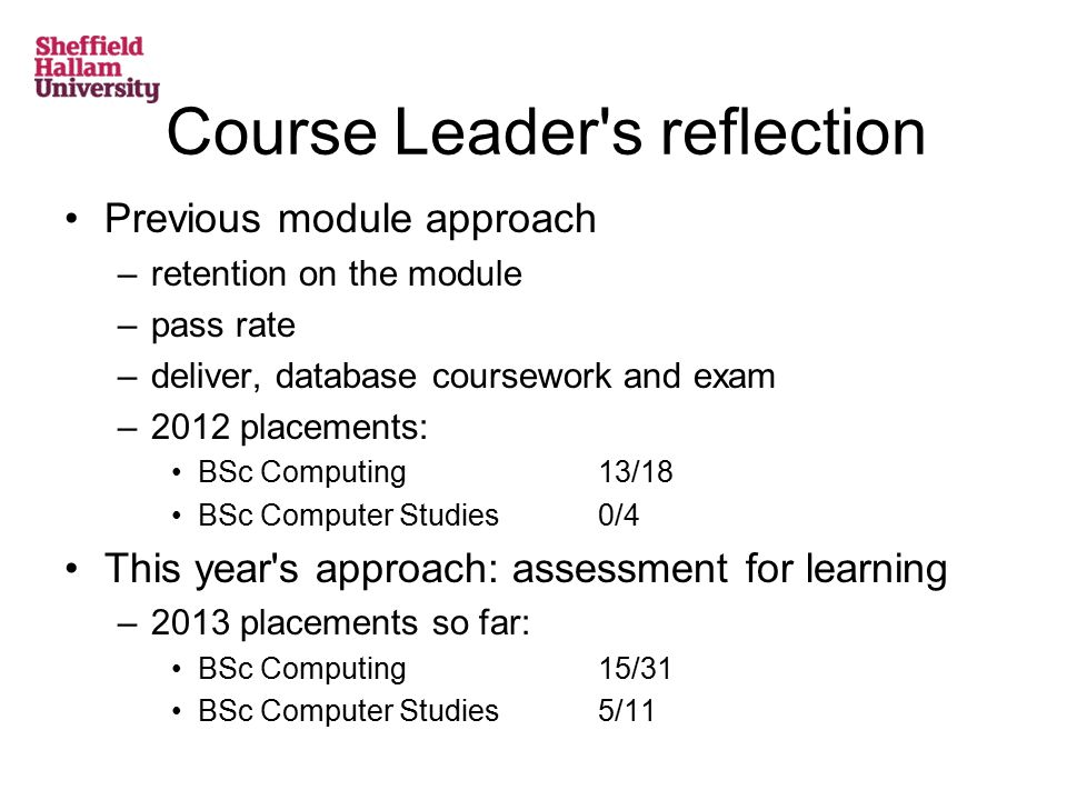 Course Leader s reflection Previous module approach –retention on the module –pass rate –deliver, database coursework and exam –2012 placements: BSc Computing13/18 BSc Computer Studies0/4 This year s approach: assessment for learning –2013 placements so far: BSc Computing 15/31 BSc Computer Studies 5/11