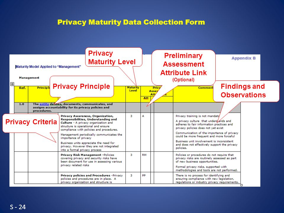 S - 24 Privacy Principle Privacy Criteria Findings and Observations Privacy Maturity Level Preliminary Assessment Attribute Link (Optional) Privacy Maturity Data Collection Form