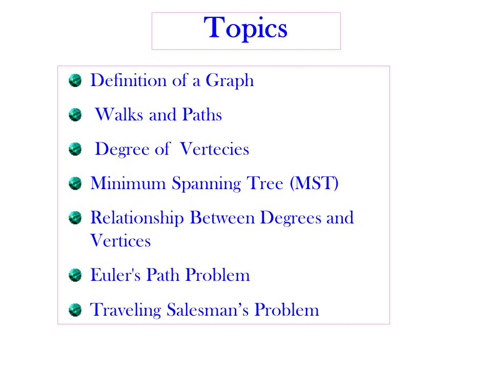 Topics Definition of a Graph Walks and Paths Degree of Vertecies Minimum Spanning Tree (MST) Relationship Between Degrees and Vertices Euler s Path Problem Traveling Salesman's Problem
