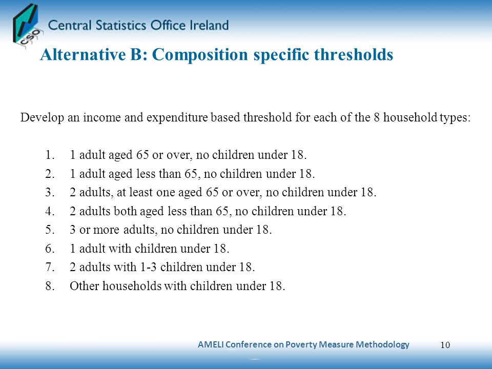 Alternative B: Composition specific thresholds Develop an income and expenditure based threshold for each of the 8 household types: 1.1 adult aged 65