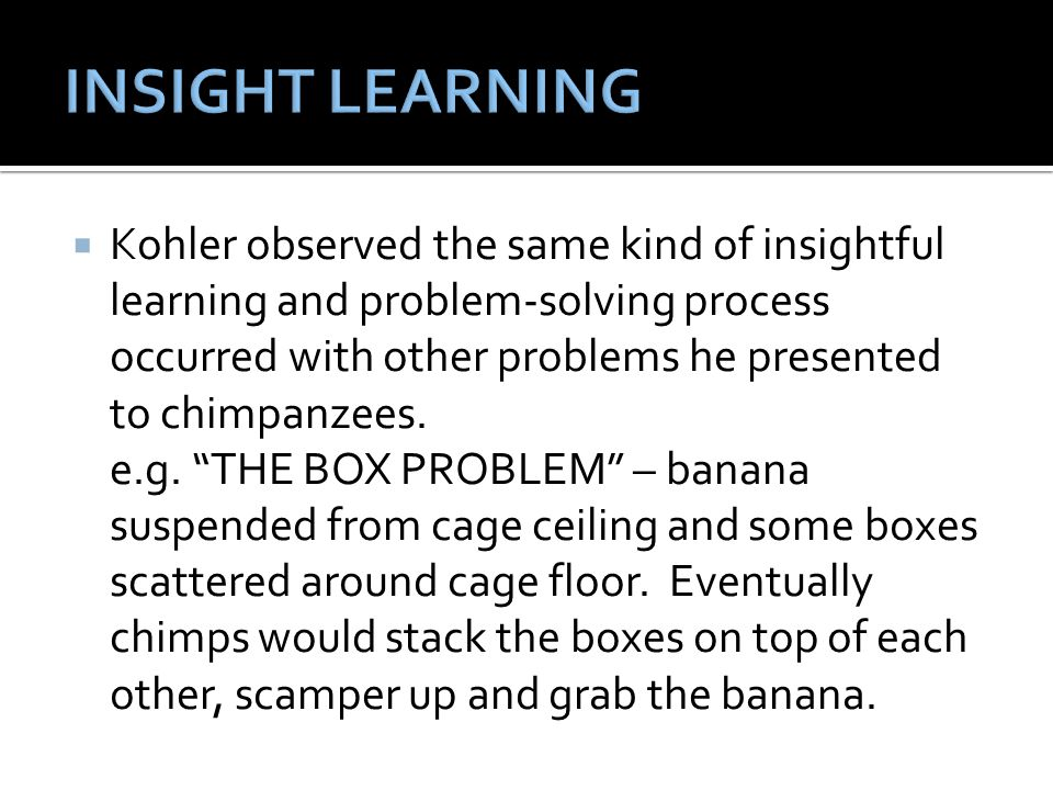 """ Kohler observed the same kind of insightful learning and problem-solving process occurred with other problems he presented to chimpanzees. e.g. """"THE"""
