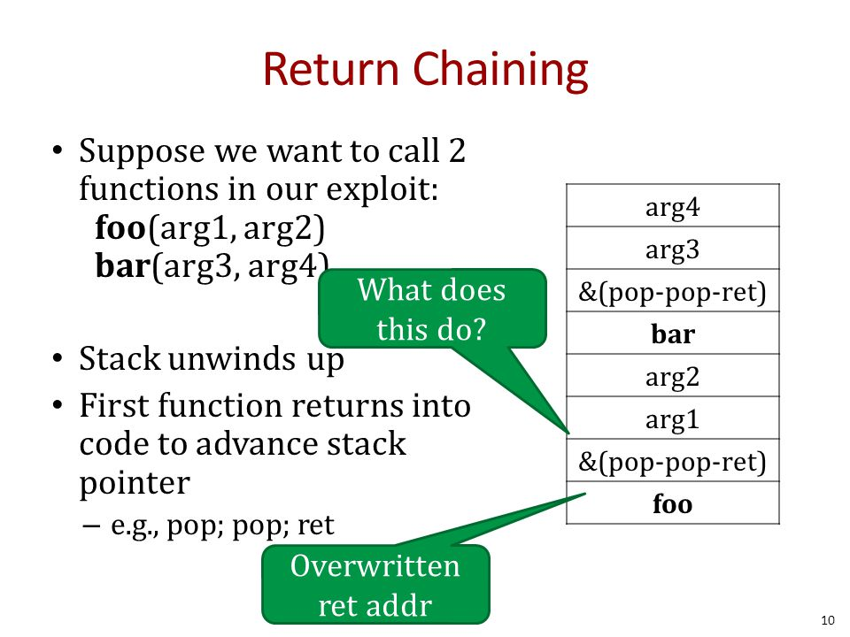 Return Chaining Suppose we want to call 2 functions in our exploit: foo(arg1, arg2) bar(arg3, arg4) Stack unwinds up First function returns into code to advance stack pointer – e.g., pop; pop; ret 10 arg4 arg3 &(pop-pop-ret) bar arg2 arg1 &(pop-pop-ret) foo Overwritten ret addr What does this do