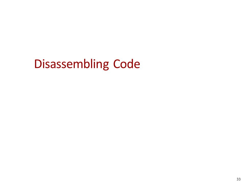 Disassembling Code 33