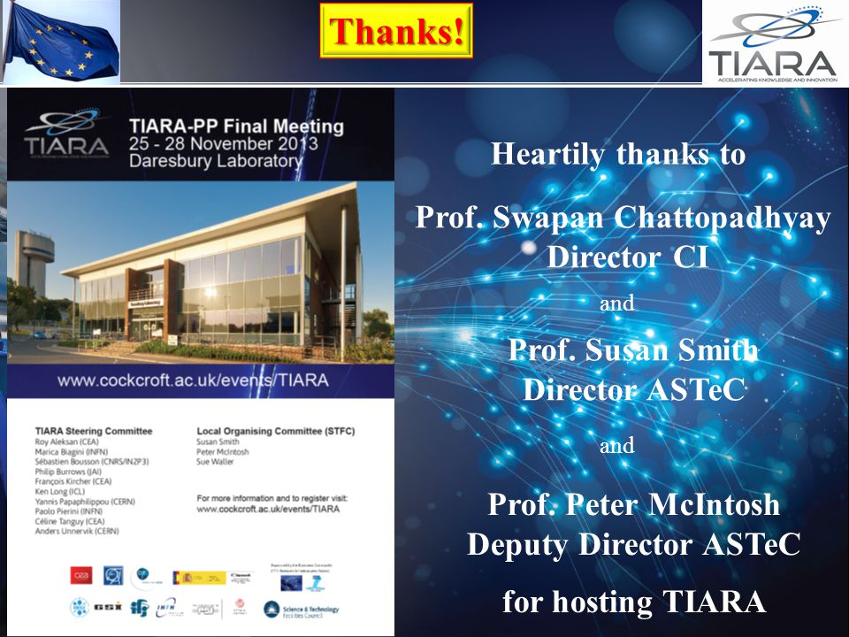 Thanks! Heartily thanks to Prof. Swapan Chattopadhyay Director CI and Prof. Peter McIntosh Deputy Director ASTeC Prof. Susan Smith Director ASTeC and