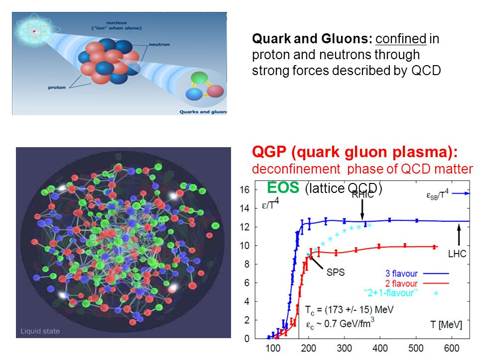 2 QGP (quark gluon plasma): deconfinement phase of QCD matter Quark and Gluons: confined in proton and neutrons through strong forces described by QCD EOS (lattice QCD)