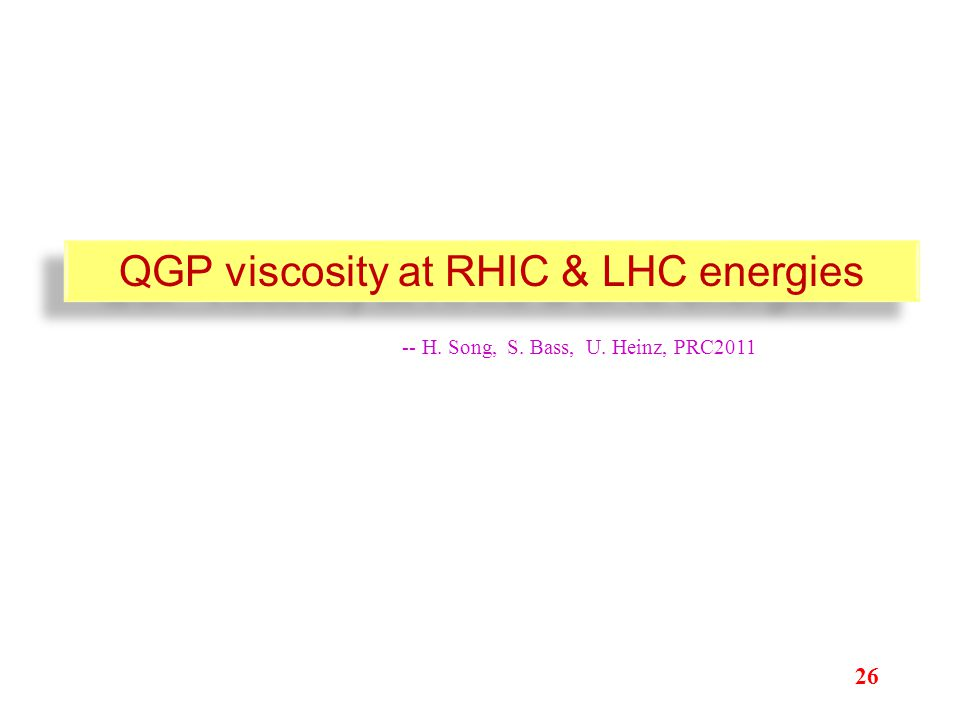 QGP viscosity at RHIC & LHC energies 26 -- H. Song, S. Bass, U. Heinz, PRC2011