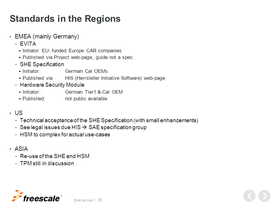 TM External Use 10 Standards in the Regions EMEA (mainly Germany) − EVITA  Initiator: EU- funded Europe CAR companies  Published via Project web-page, guide not a spec.