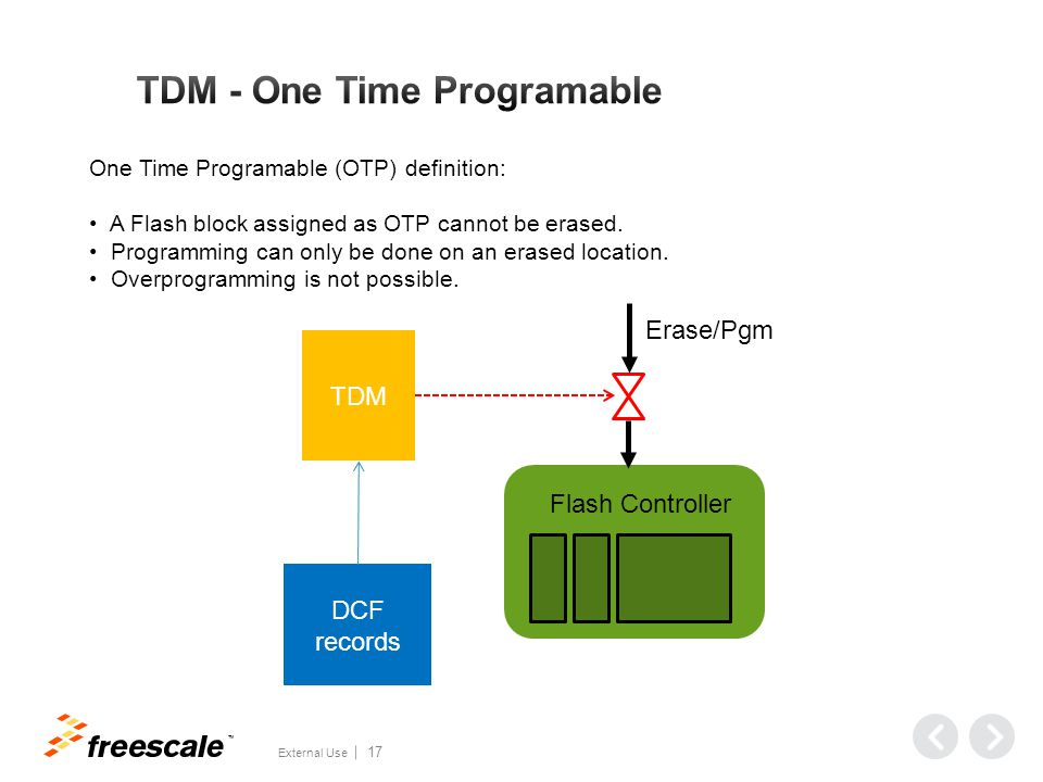 TM External Use 17 One Time Programable (OTP) definition: A Flash block assigned as OTP cannot be erased.
