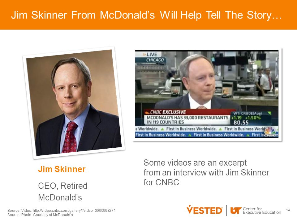 14 Jim Skinner CEO, Retired McDonald's Jim Skinner From McDonald's Will Help Tell The Story… Some videos are an excerpt from an interview with Jim Skinner for CNBC Source: Video: http://video.cnbc.com/gallery/ video=3000098271 Source: Photo: Courtesy of McDonald's