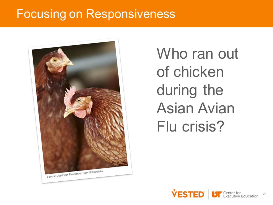 Who ran out of chicken during the Asian Avian Flu crisis 21 Focusing on Responsiveness