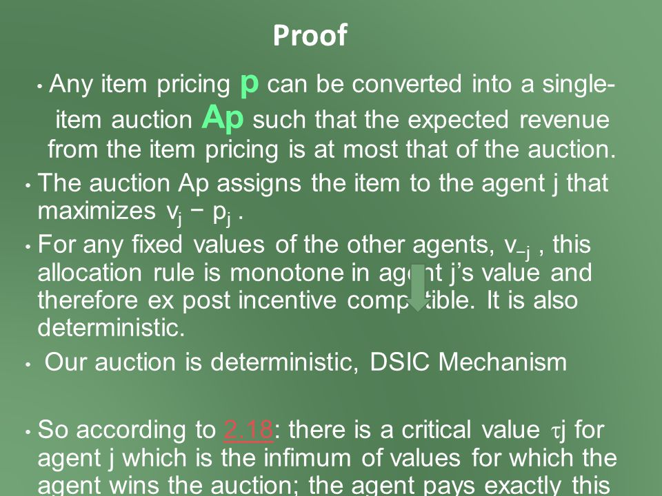 Proof Any item pricing p can be converted into a single- item auction Ap such that the expected revenue from the item pricing is at most that of the auction.