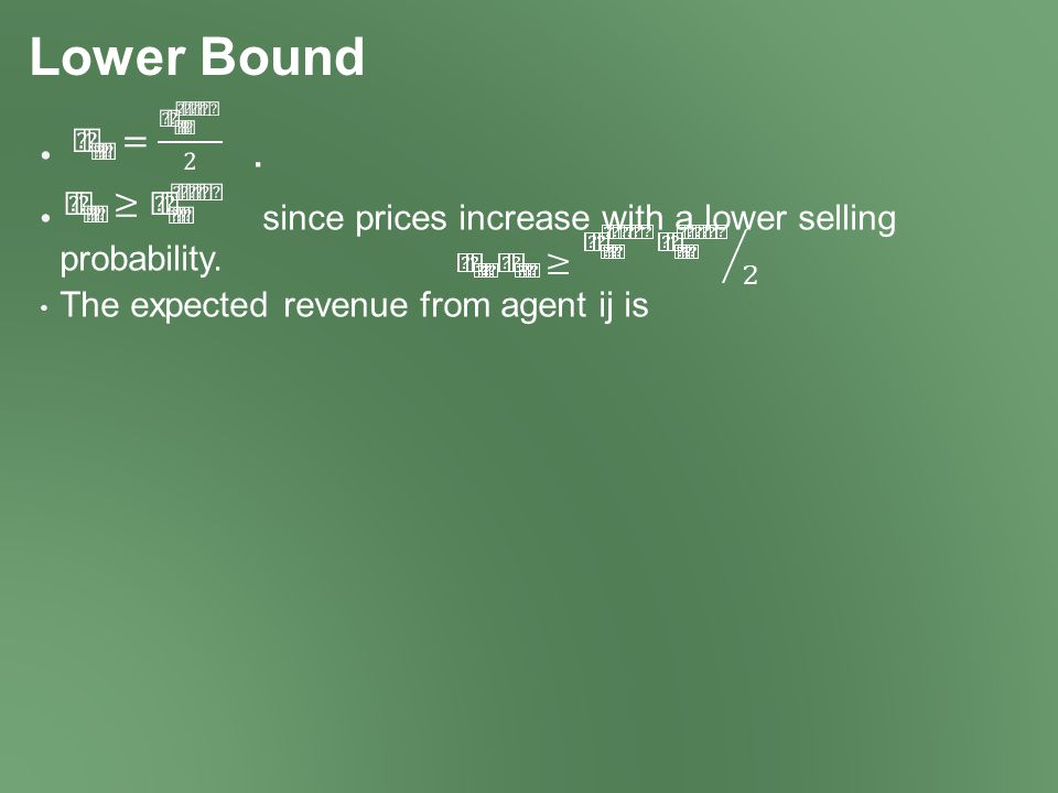 Lower Bound. since prices increase with a lower selling probability.