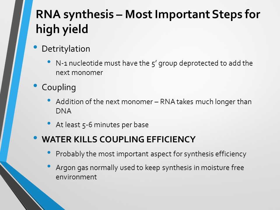RNA synthesis – Most Important Steps for high yield Detritylation N-1 nucleotide must have the 5' group deprotected to add the next monomer Coupling A