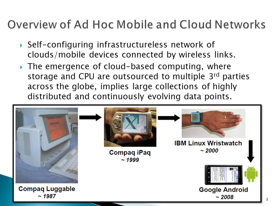  Self-configuring infrastructureless network of clouds/mobile devices connected by wireless links.