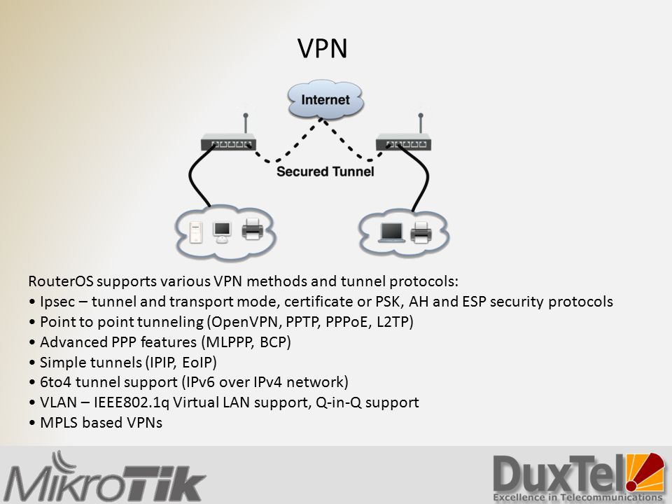 RouterOS supports various VPN methods and tunnel protocols: Ipsec – tunnel and transport mode, certificate or PSK, AH and ESP security protocols Point