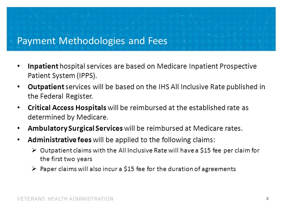 VETERANS HEALTH ADMINISTRATION Payment Methodologies and Fees Inpatient hospital services are based on Medicare Inpatient Prospective Patient System (IPPS).