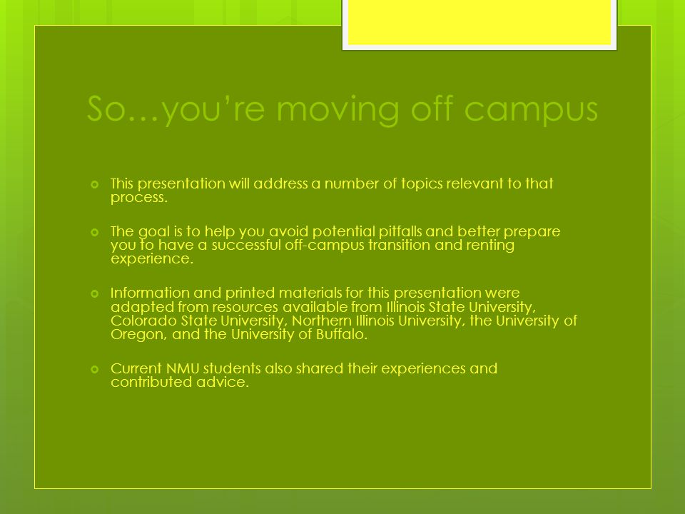 So…you're moving off campus  This presentation will address a number of topics relevant to that process.