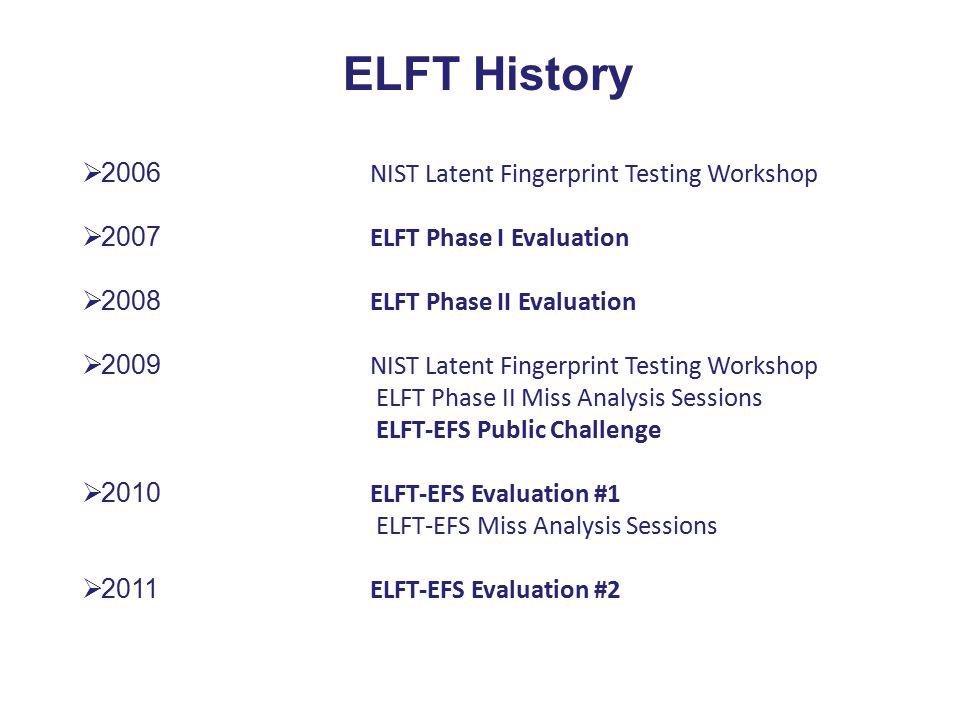  2006 NIST Latent Fingerprint Testing Workshop  2007 ELFT Phase I Evaluation  2008 ELFT Phase II Evaluation  2009 NIST Latent Fingerprint Testing