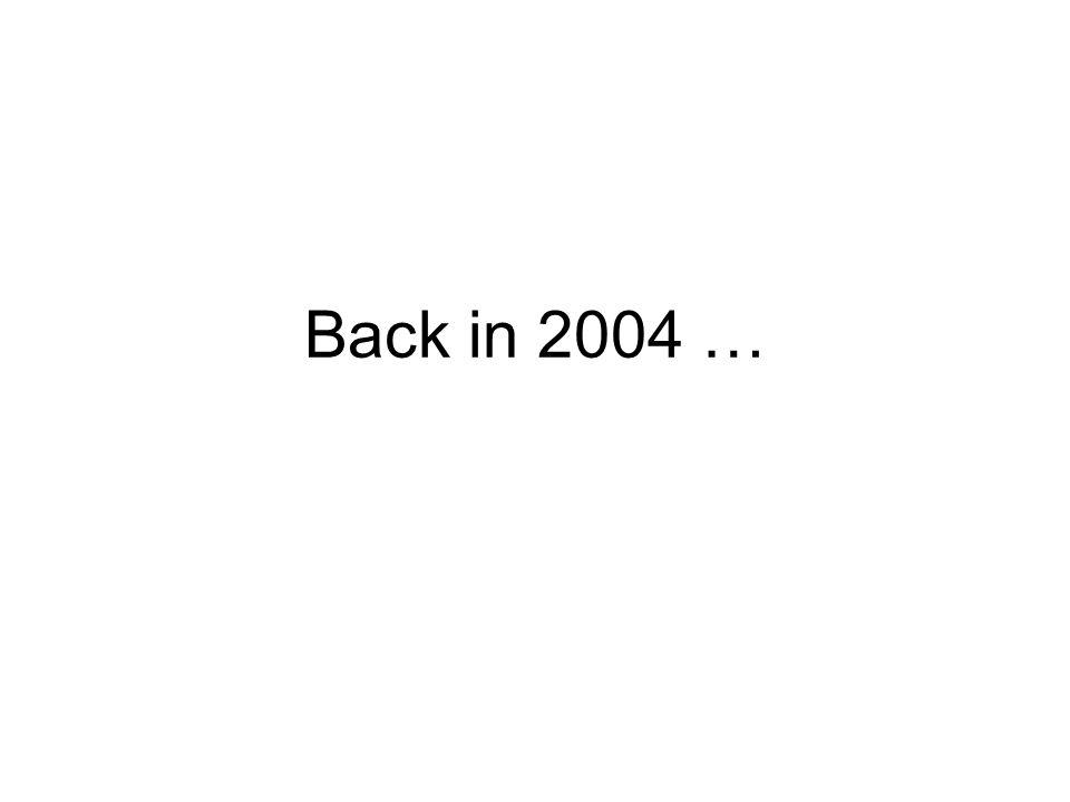 Back in 2004 …
