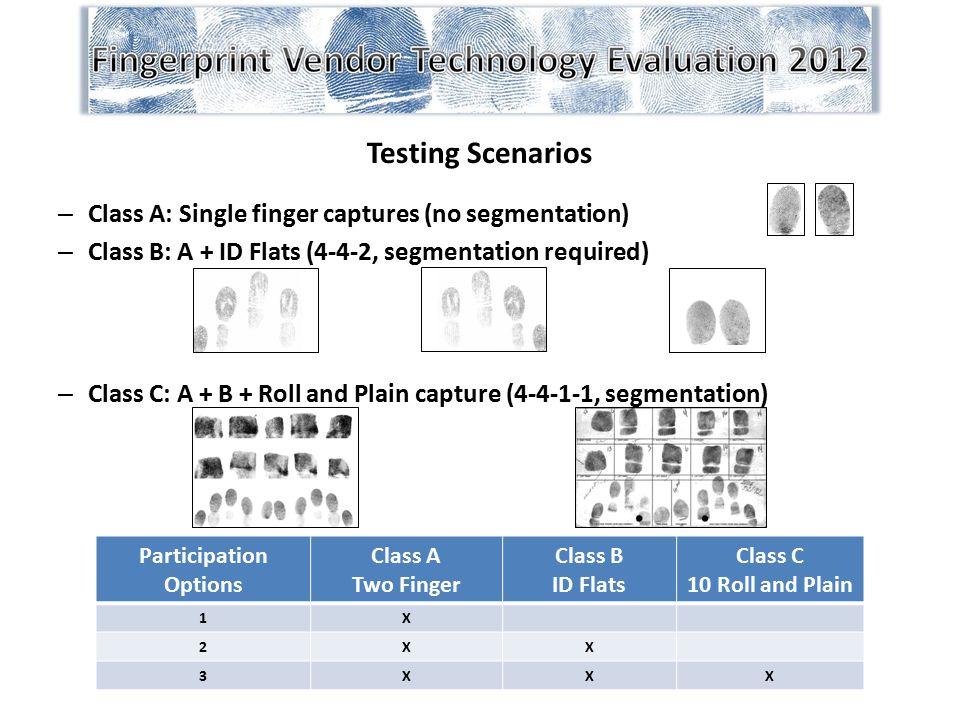 Testing Scenarios – Class A: Single finger captures (no segmentation) – Class B: A + ID Flats (4-4-2, segmentation required) – Class C: A + B + Roll a