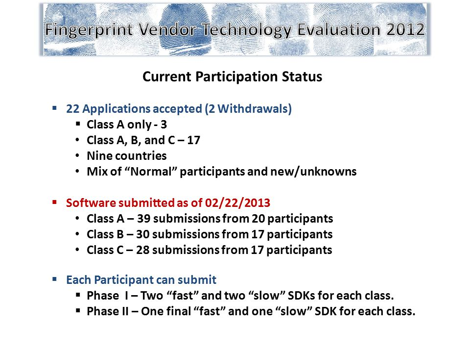 """Current Participation Status  22 Applications accepted (2 Withdrawals)  Class A only - 3 Class A, B, and C – 17 Nine countries Mix of """"Normal"""" parti"""