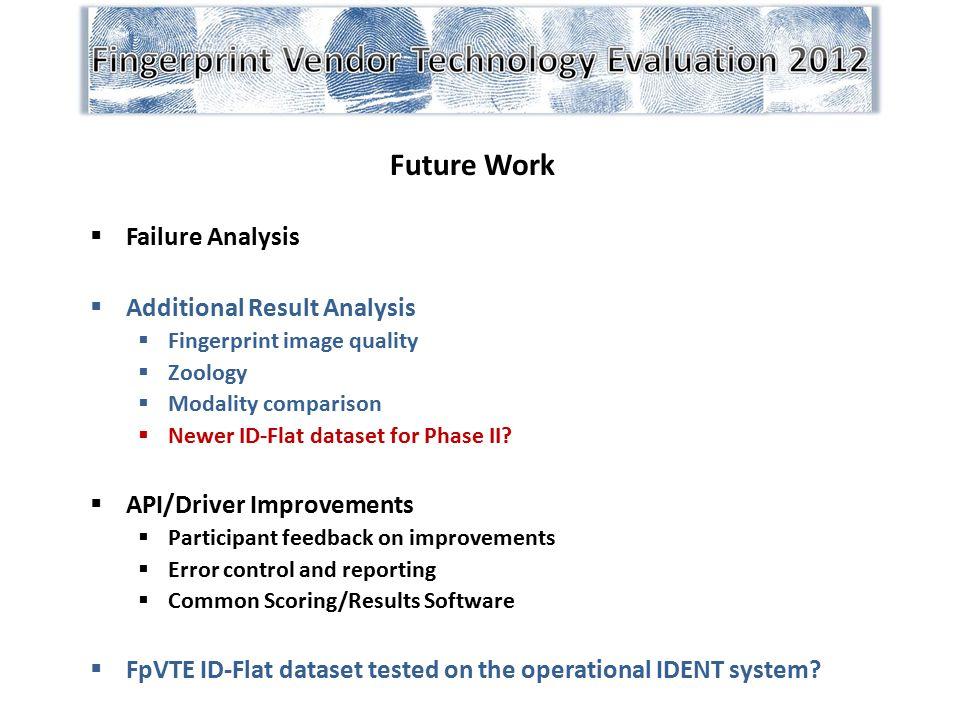 Future Work  Failure Analysis  Additional Result Analysis  Fingerprint image quality  Zoology  Modality comparison  Newer ID-Flat dataset for Ph