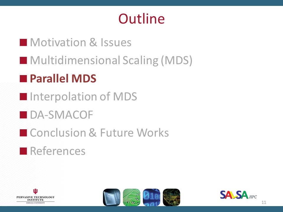 Outline  Motivation & Issues  Multidimensional Scaling (MDS)  Parallel MDS  Interpolation of MDS  DA-SMACOF  Conclusion & Future Works  Referen