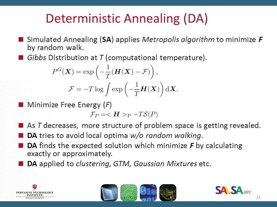 Deterministic Annealing (DA)  Simulated Annealing (SA) applies Metropolis algorithm to minimize F by random walk.  Gibbs Distribution at T (computat