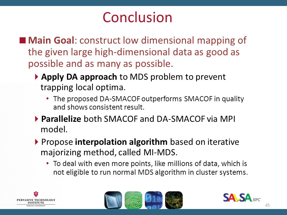 Conclusion  Main Goal: construct low dimensional mapping of the given large high-dimensional data as good as possible and as many as possible.  Appl