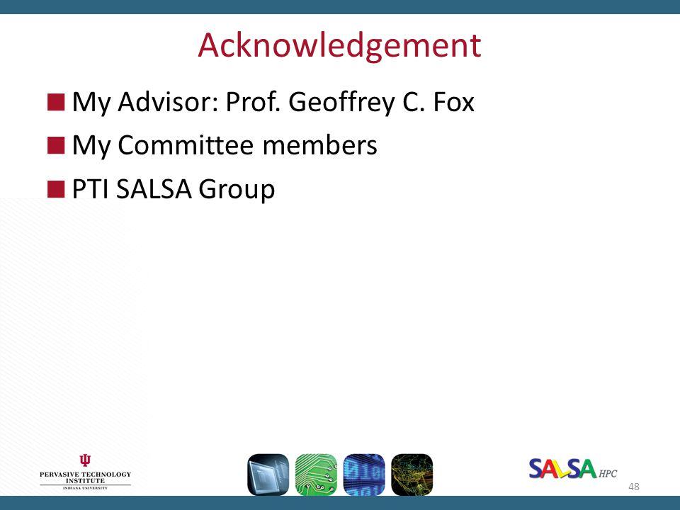 Acknowledgement  My Advisor: Prof. Geoffrey C. Fox  My Committee members  PTI SALSA Group 48