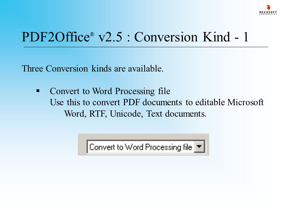 PDF2Office ® v2.5 : Conversion Kind - 1 Three Conversion kinds are available.