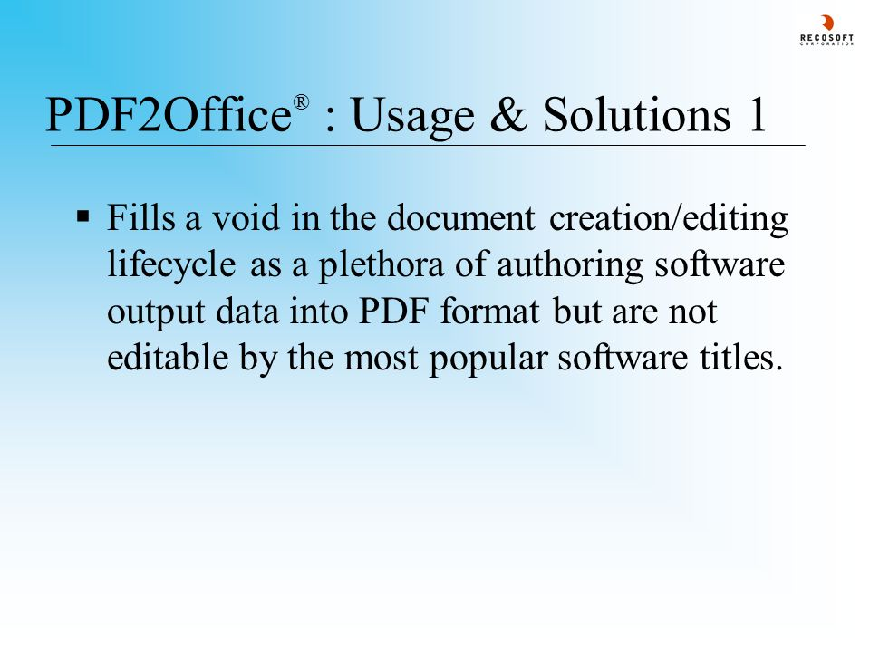 PDF2Office ® v2.5 : Conversion Options - 8 When converting a PDF file to the Microsoft PowerPoint format, you can specify the image resolution and several conversion options also.