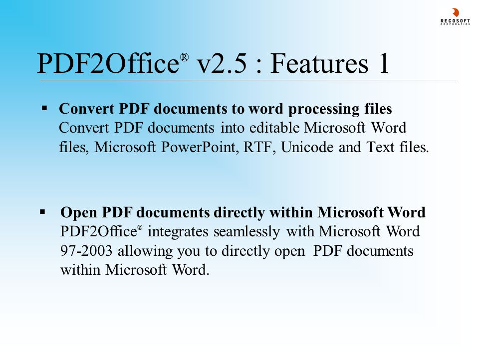 PDF2Office ® v2.5 : Retain layout/Process form - 1  The Retain layout/Process form processing type is ideal when you want to replicate the PDF document page for page.