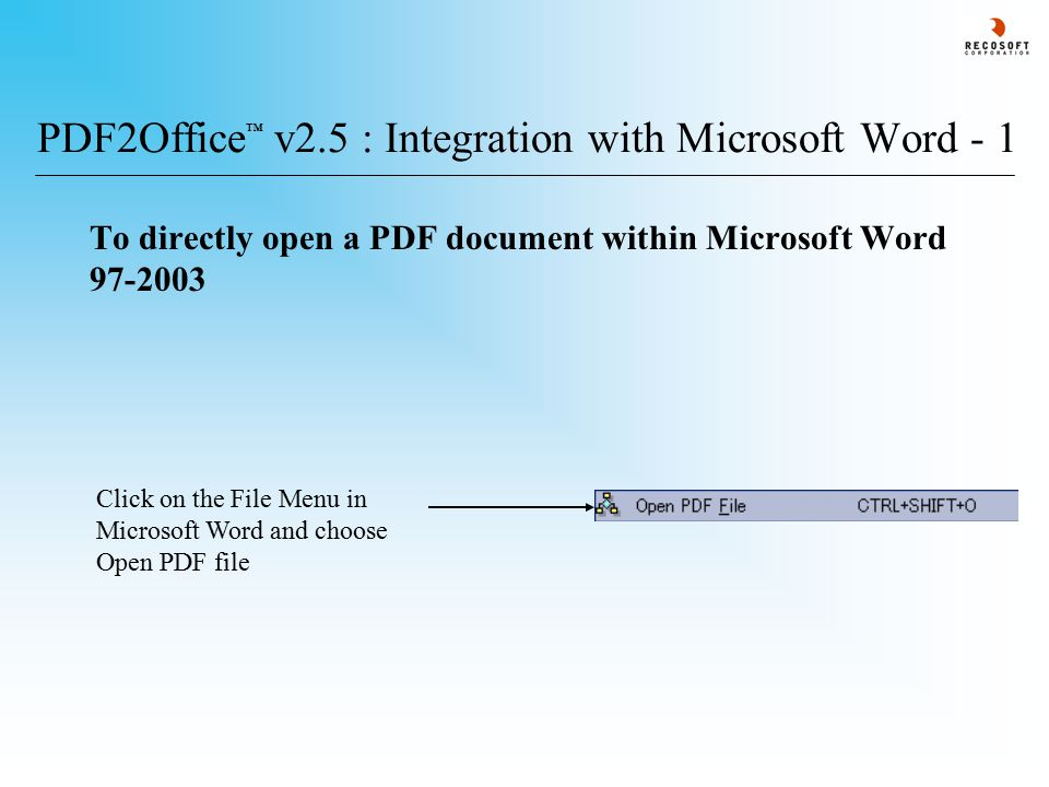PDF2Office ® v2.5 : Notices PDF2Office ® is a trademark of Recosoft Corporation All other trademarks are the property of their respective owners.