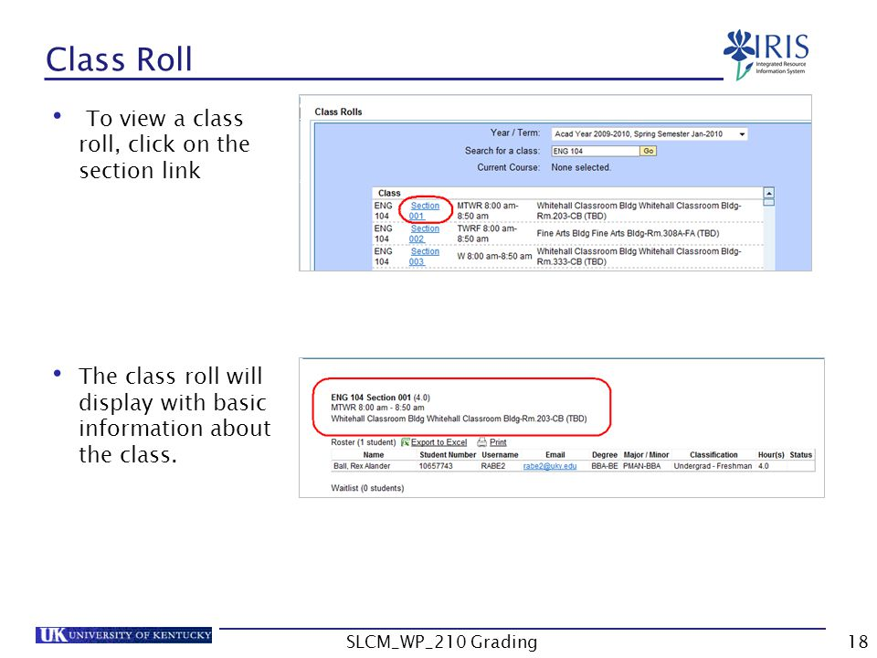 To view a class roll, click on the section link The class roll will display with basic information about the class.