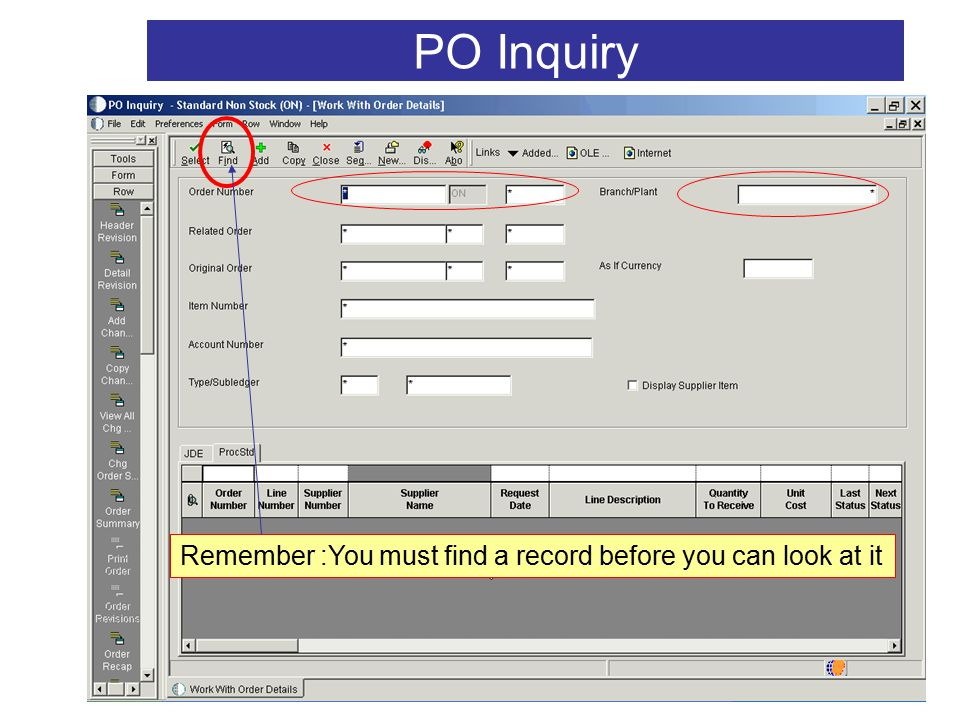 V2 22 PO Inquiry Remember :You must find a record before you can look at it