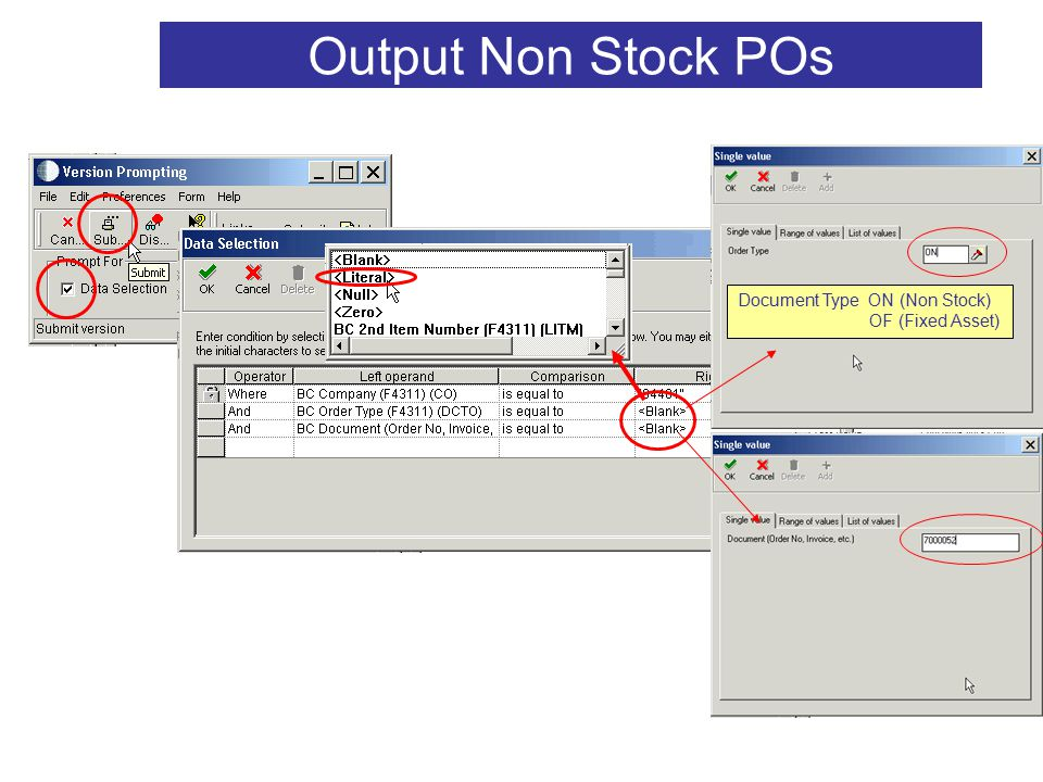 V2 32 Output Non Stock POs Document Type ON (Non Stock) OF (Fixed Asset)
