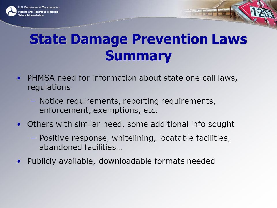 U.S. Department of Transportation Pipeline and Hazardous Materials Safety Administration State Damage Prevention Laws Summary PHMSA need for informati