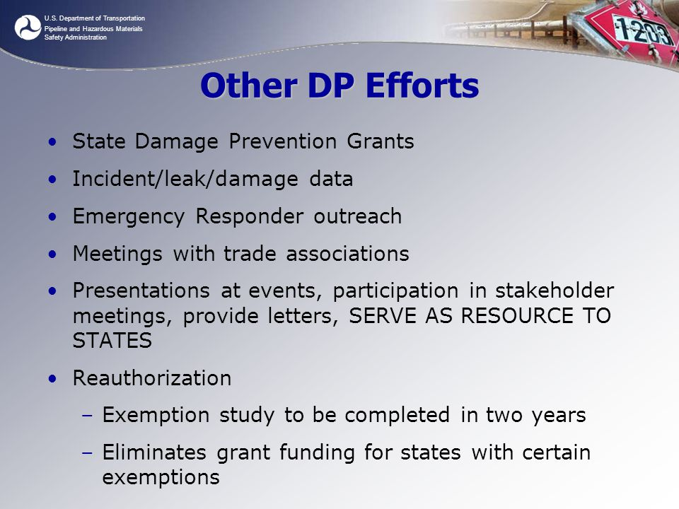U.S. Department of Transportation Pipeline and Hazardous Materials Safety Administration Other DP Efforts State Damage Prevention Grants Incident/leak