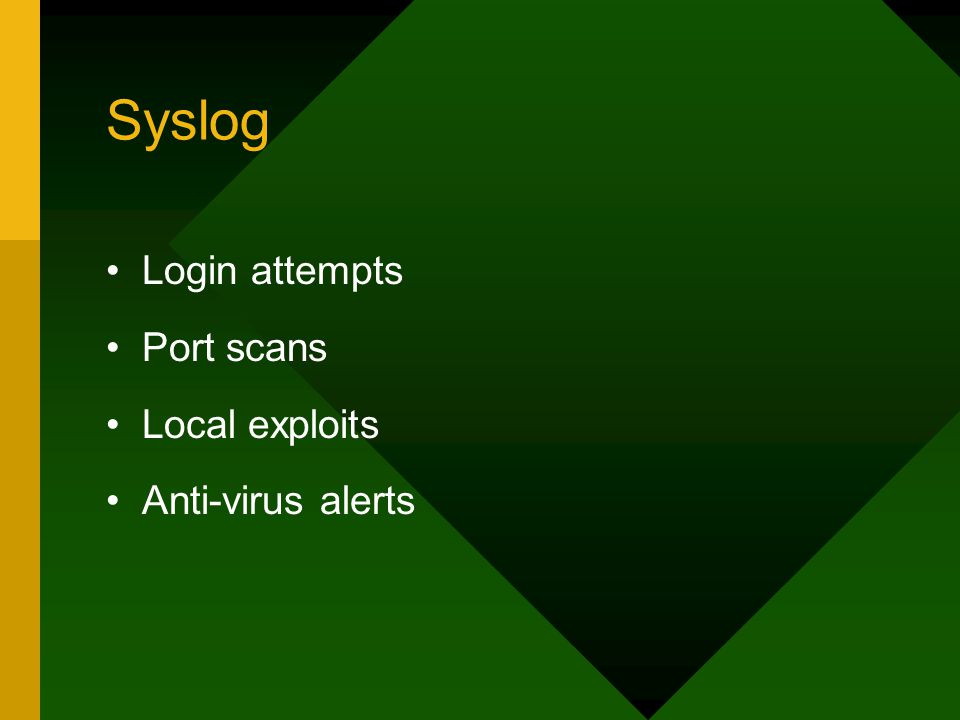 Syslog Login attempts Port scans Local exploits Anti-virus alerts