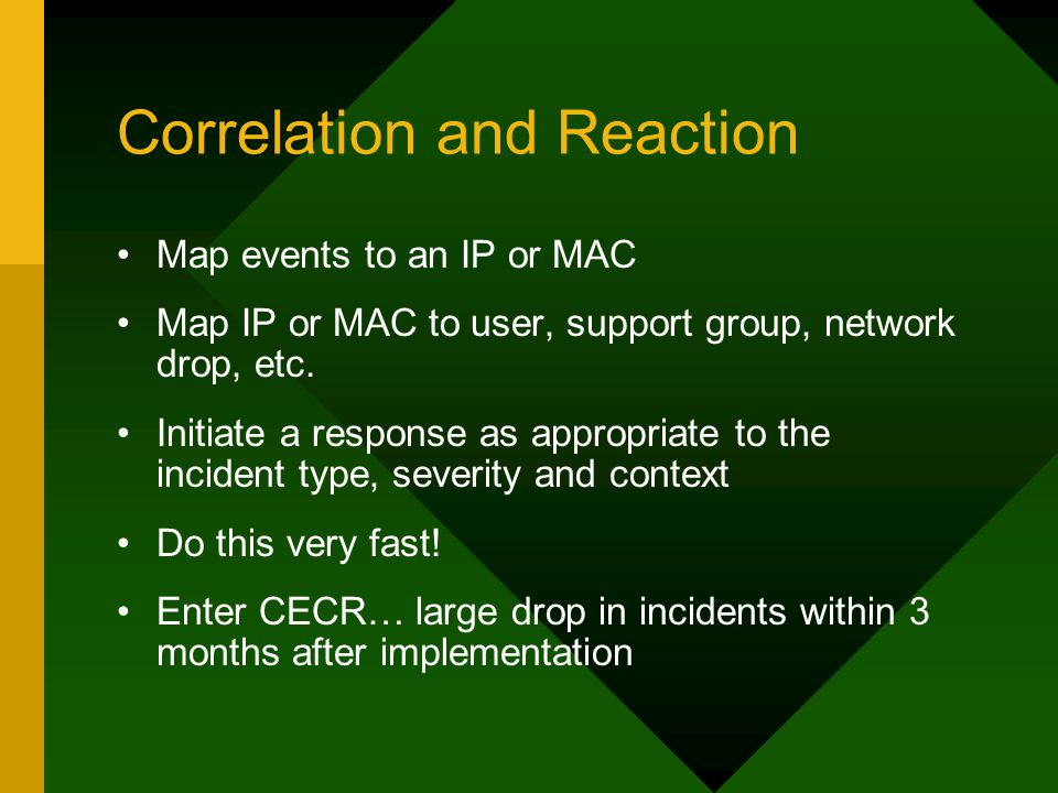 Correlation and Reaction Map events to an IP or MAC Map IP or MAC to user, support group, network drop, etc. Initiate a response as appropriate to the