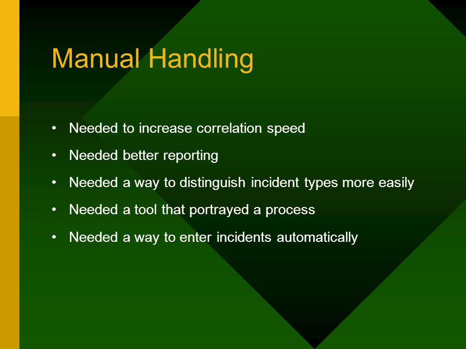 Manual Handling Needed to increase correlation speed Needed better reporting Needed a way to distinguish incident types more easily Needed a tool that