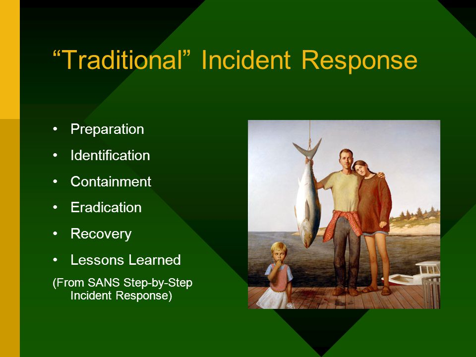 Traditional Incident Response Preparation Identification Containment Eradication Recovery Lessons Learned (From SANS Step-by-Step Incident Response)