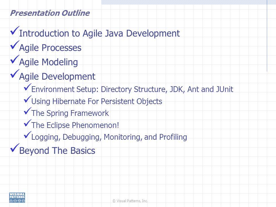 © Visual Patterns, Inc. Presentation Outline Introduction to Agile Java Development Agile Processes Agile Modeling Agile Development Environment Setup