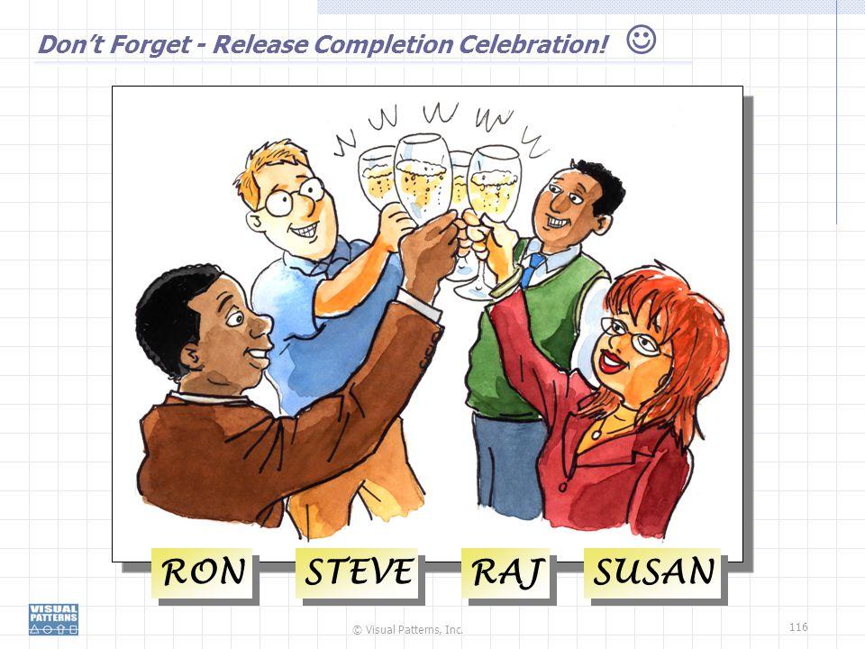 © Visual Patterns, Inc. 116 Don't Forget - Release Completion Celebration! RON STEVE RAJ SUSAN